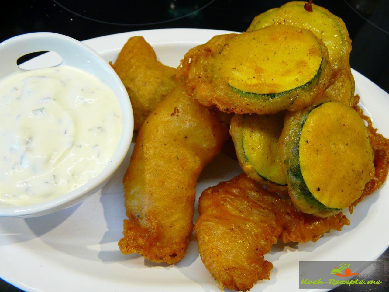 Backfisch und Zucchinischeiben im Backteig mit Zartziki Juli 2015