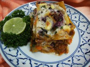 Rezept :angerichtet die Lasagne vegetarisch mit Blumenkohl-Bolognese
