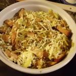 Sauerkrautkartoffelstamppot die erste Schicht dann Apfelscheiben,Frischziegenkäs