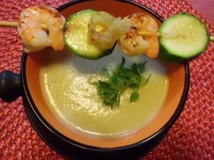 Rezept Kohlrabisuppe mit Garnelenspieß