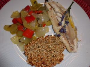 Forellen Rezept mit Graupen-Kräuterplätzchen und Paprikagemüse