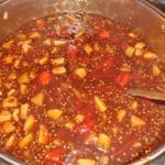 Tomaten Chutney mit Aäpfel, Ingwer,Zwiebeln und gerösteten Senfkörner