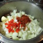 Zwiebeln und Chili mit Gewürze