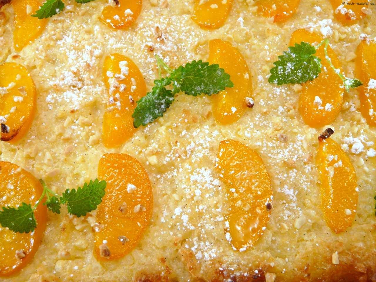 der fertige Reisauflauf mit Pfirsich und Mandel