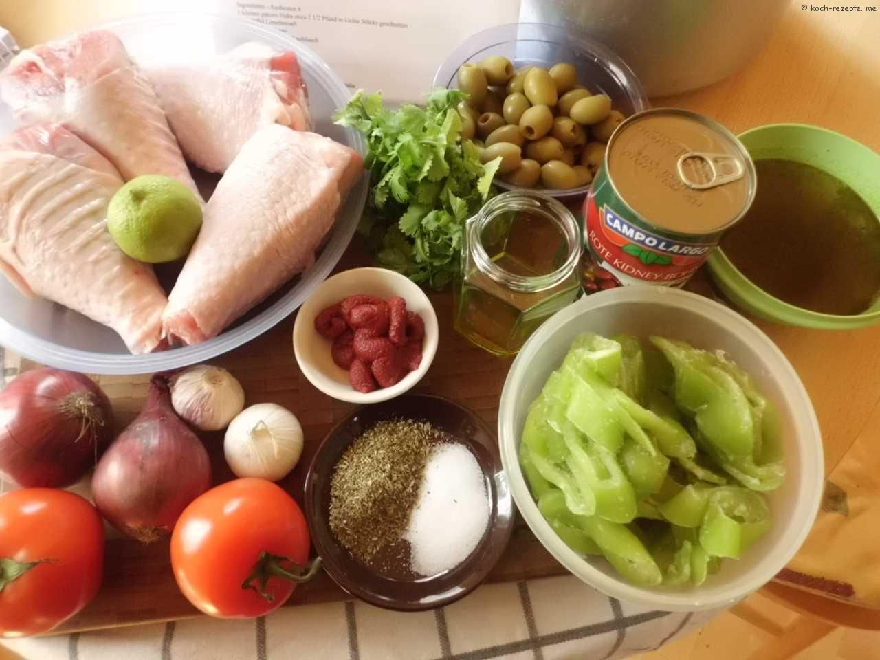 Zutaten für Pute mit Reis und rote Bohnensauce