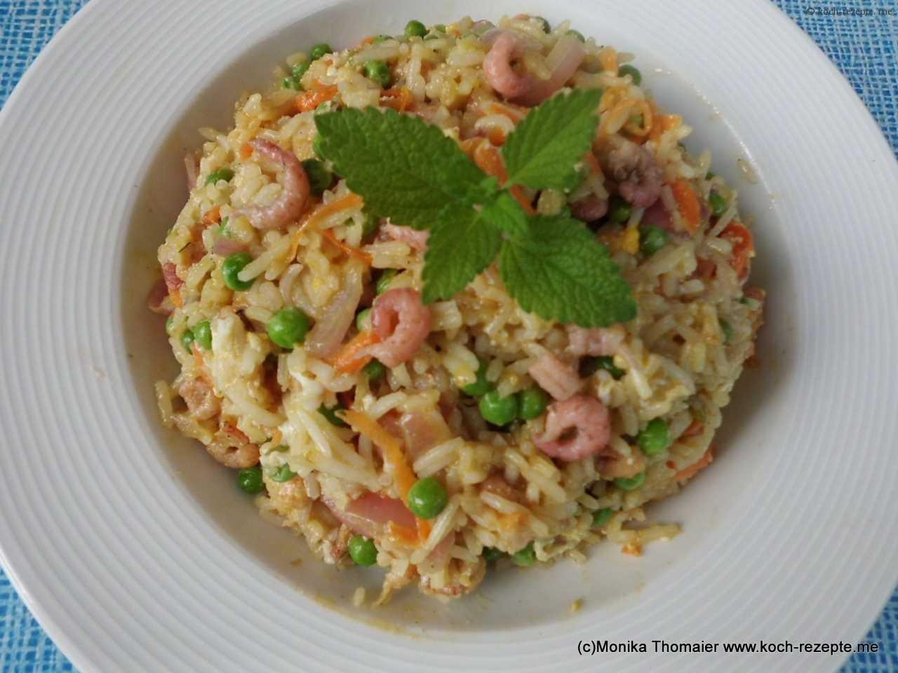 Gebratener reis mit krabben ei und gem se selber kochen for Koch gerichte