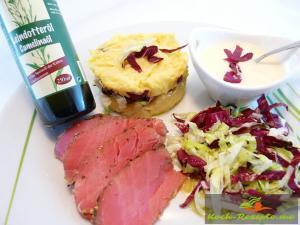Kartoffelpüree mit Leindotteröl,Thunfisch, Honigsenf Schmand, Salat20131110_ Messeteller_$(S