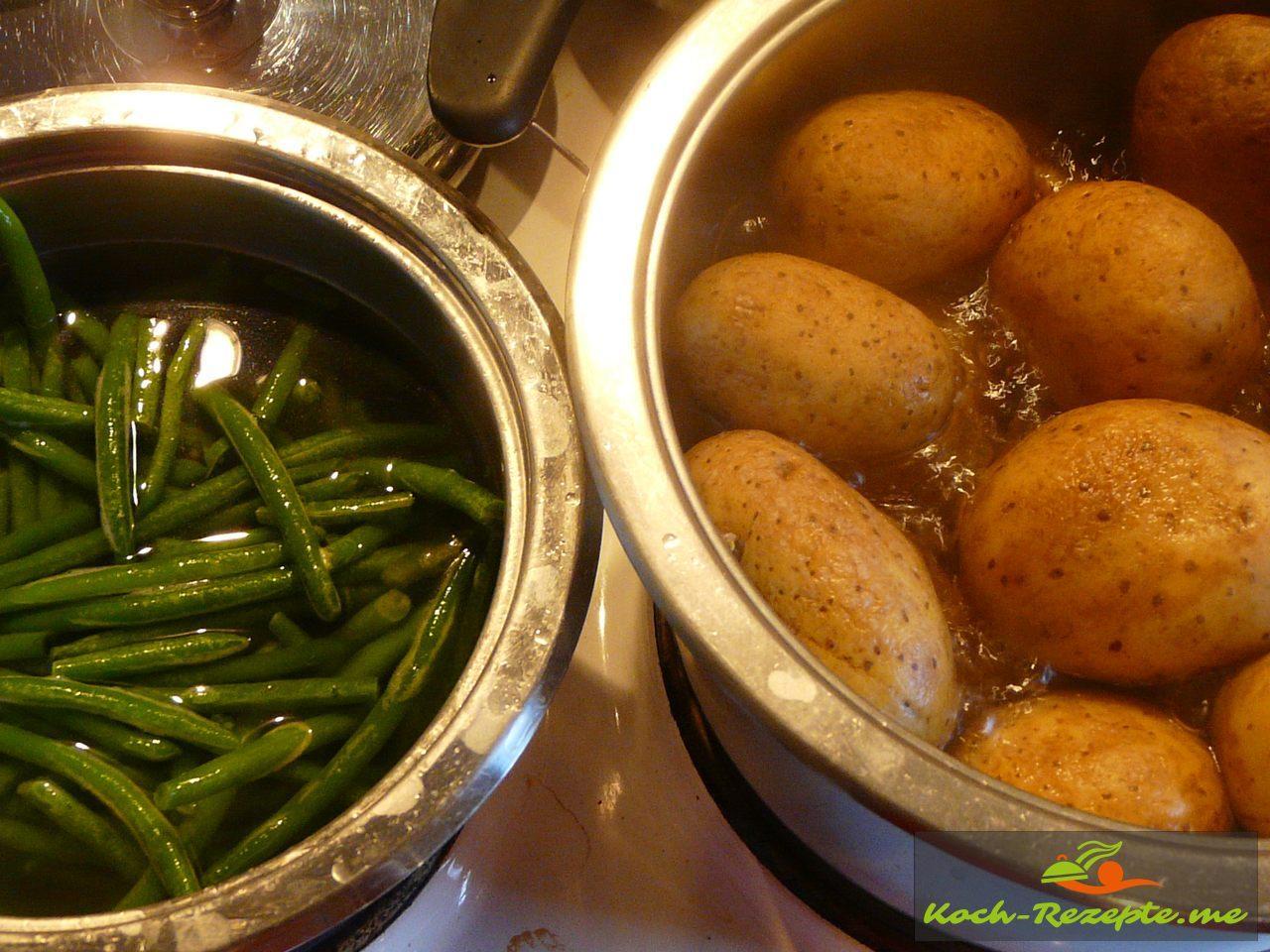 Kartoffeln und Bohnen kochen