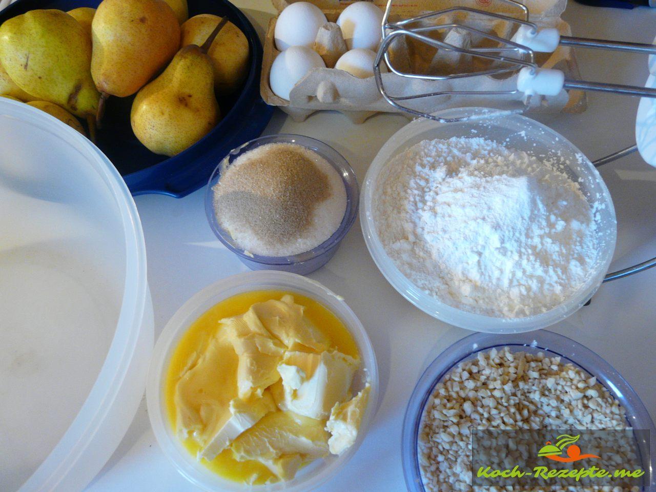 Zutaten für Birnenkuchen