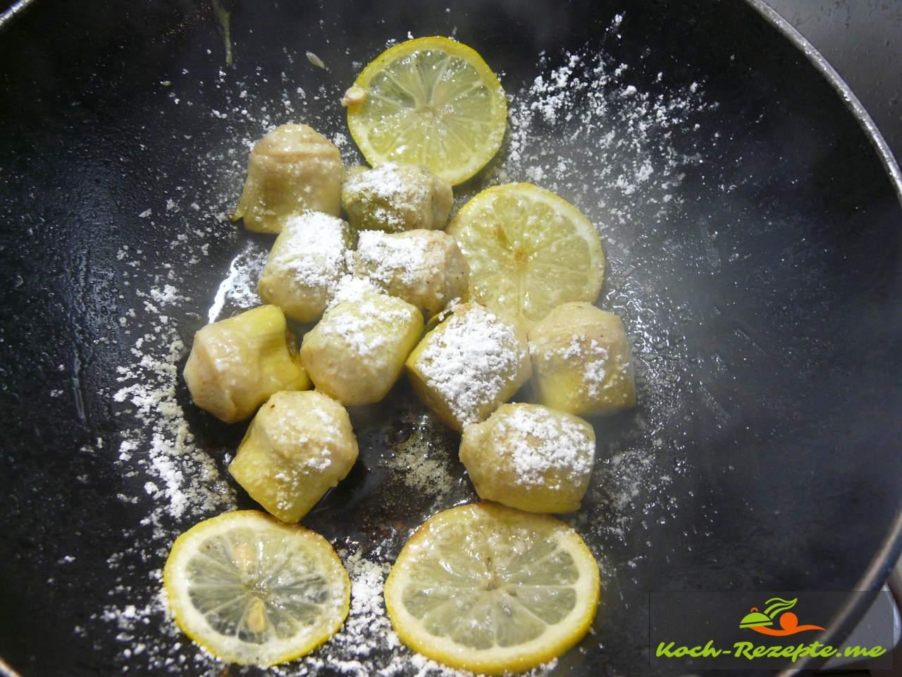 Artischockenherzen mit Puderzucker karamellisiert