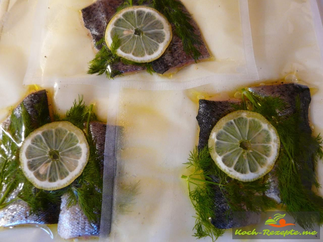 Vakuumnierte Forellenfischfilet