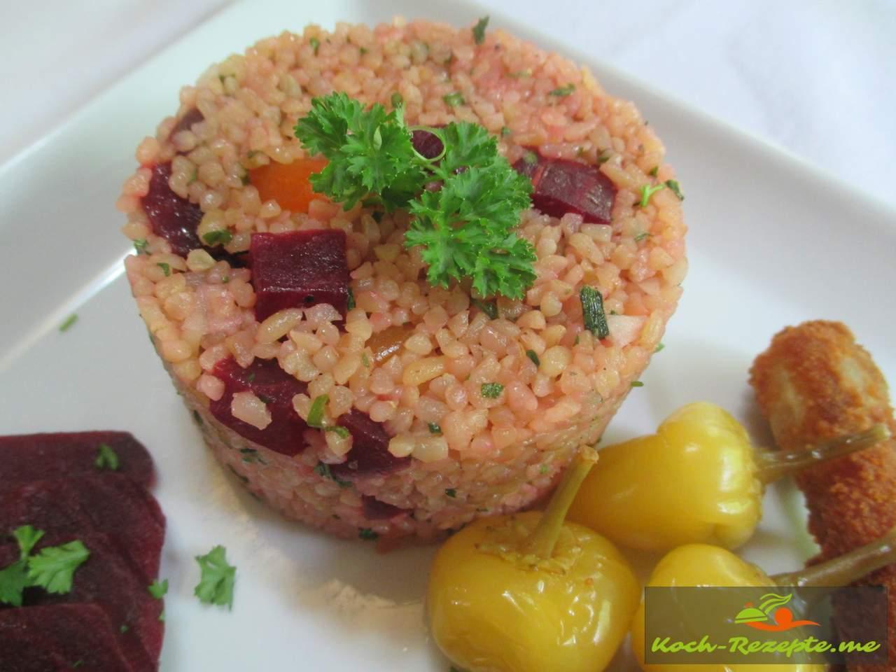kisir salat bulgursalat mit rote bete eine leckere beilage. Black Bedroom Furniture Sets. Home Design Ideas