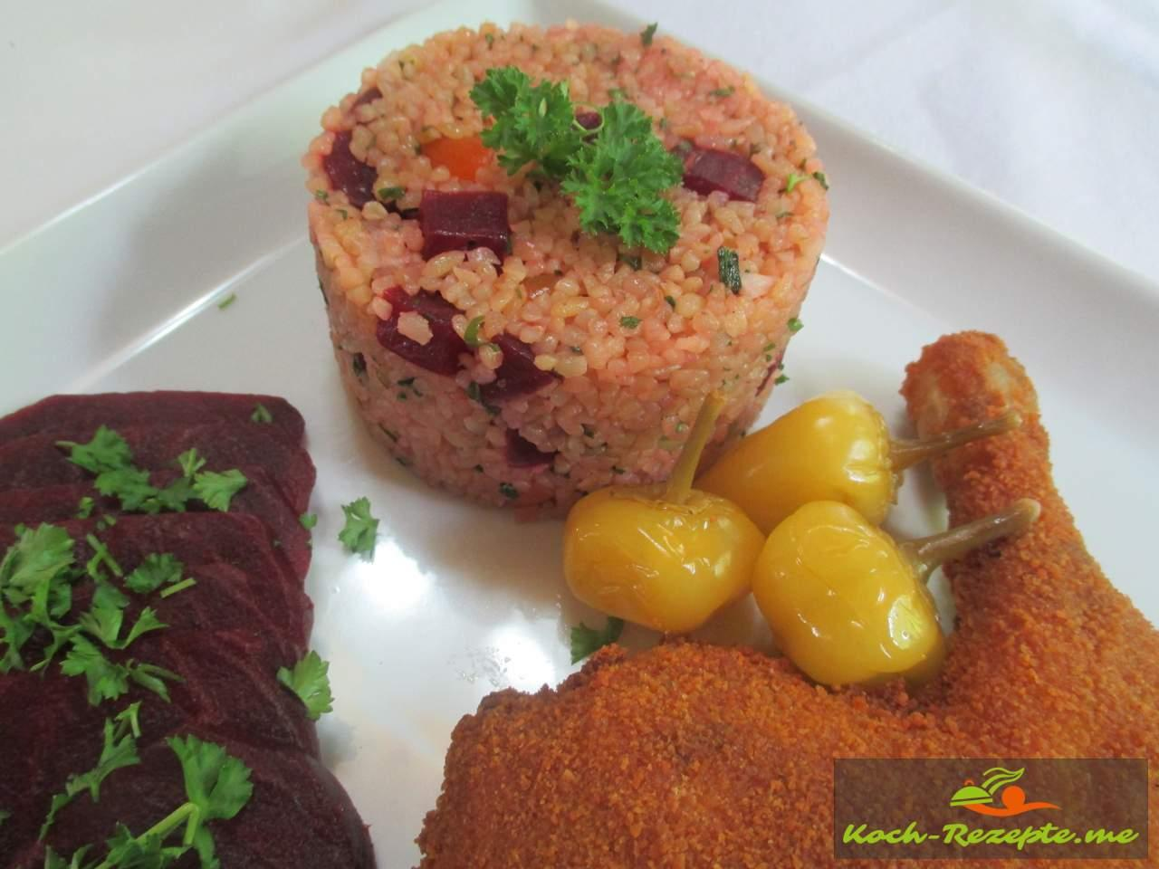 Bulgursalat, Kisir mit Rote Bete Hähnchenkeule