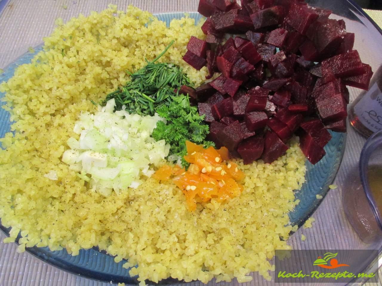 Kisir Salat, Bulgursalat herstellen mit guten Zutaten einmaliger Geschmack