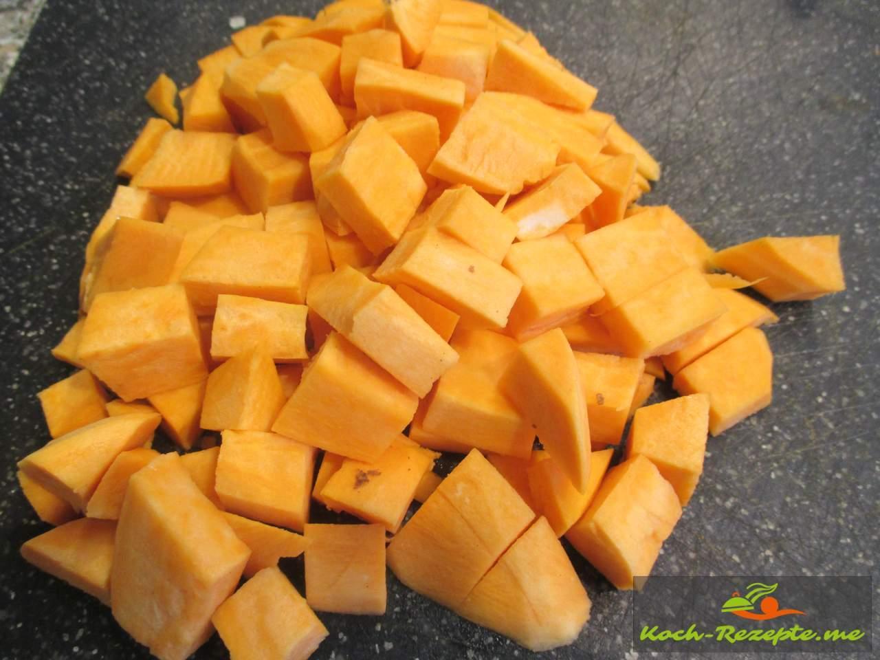 Süßkartoffel in Würfel geschnitten