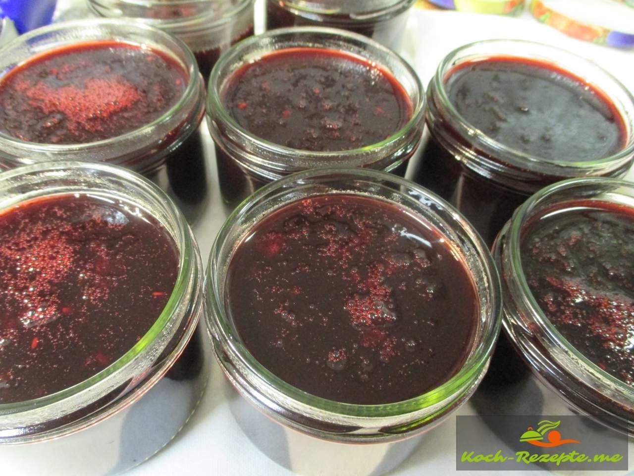 gefüllte Gläser mit Holunder Rotwein Gelee