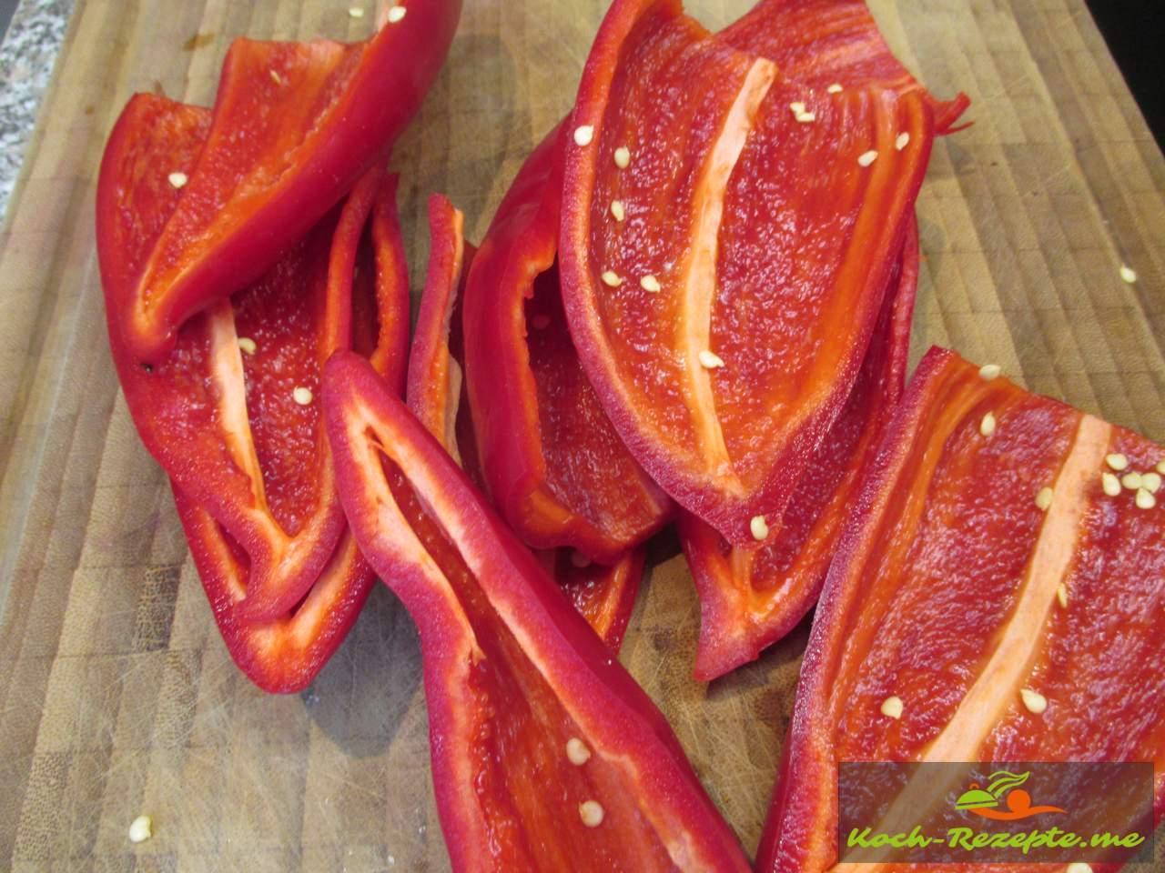 Halbierten Paprika abwaschen und trocken wischen