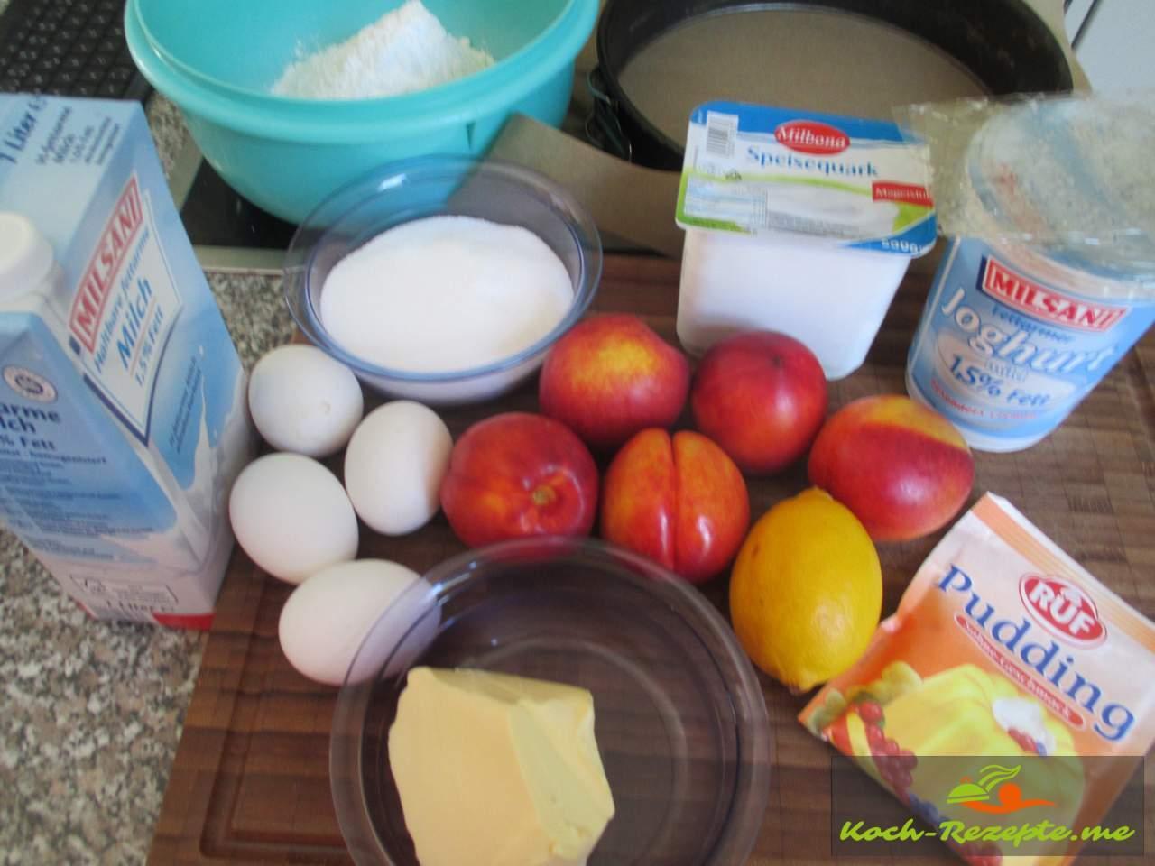 Zutaten für eine Nektarinen Torte