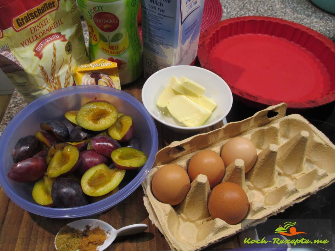 Zutaten für Pflaumen Vollkornkuchen