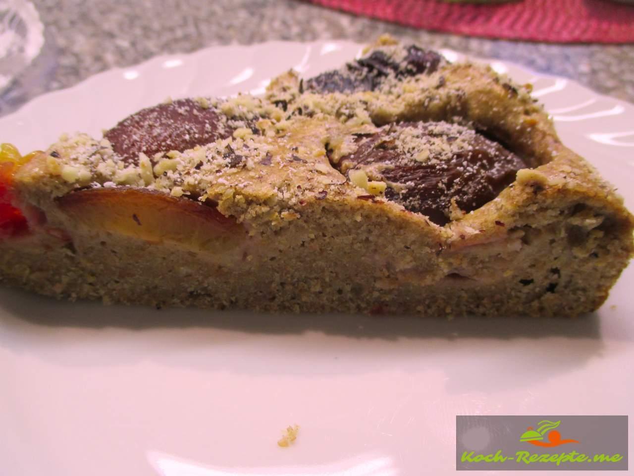 Pflaumen Vollkornkuchen mit Dinkelvollkornmehl und Stevia