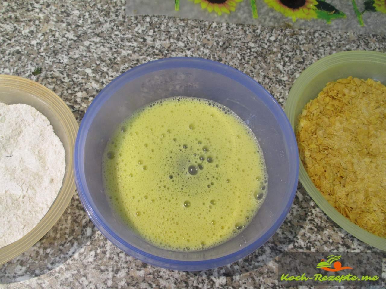 Panierstrasse, Mehl, Ei und Kornflakesmischung