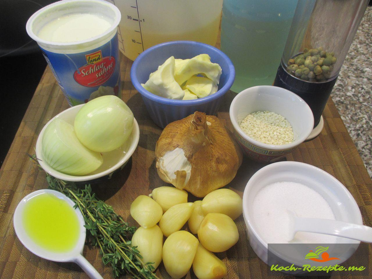 Zutaten für die Knoblauchsuppe