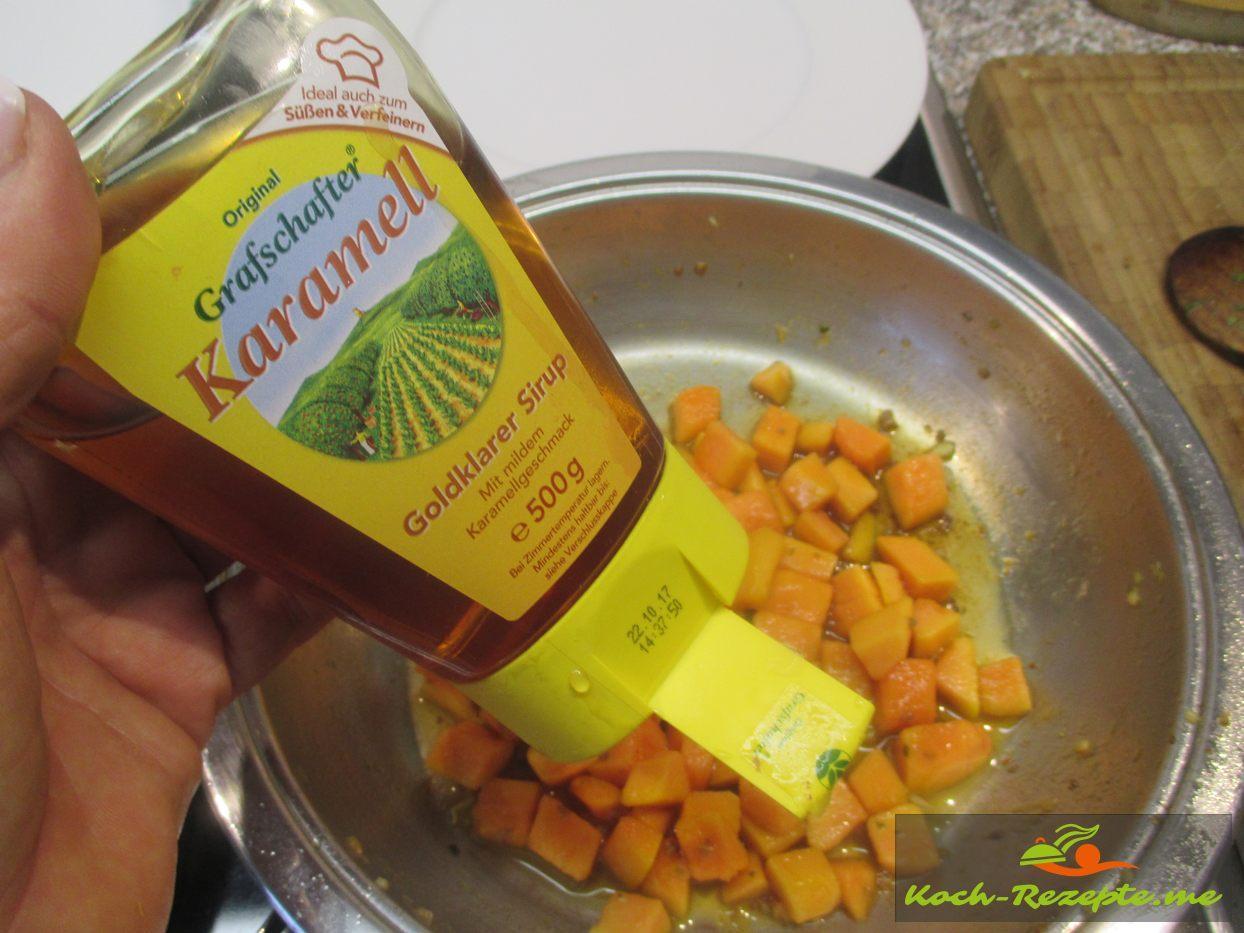 Papayawürfel mit wenigen Tropfen karamellisieren und  wenige Tropfen Zitrone