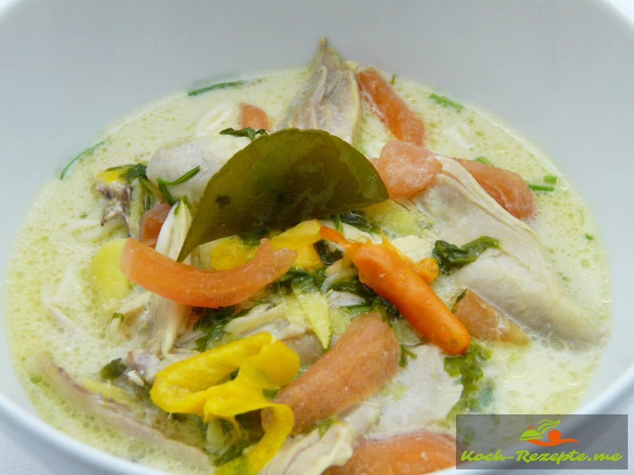 Rezept Asiatische Hühnersuppe, Kokosmilch, Zitronengras.