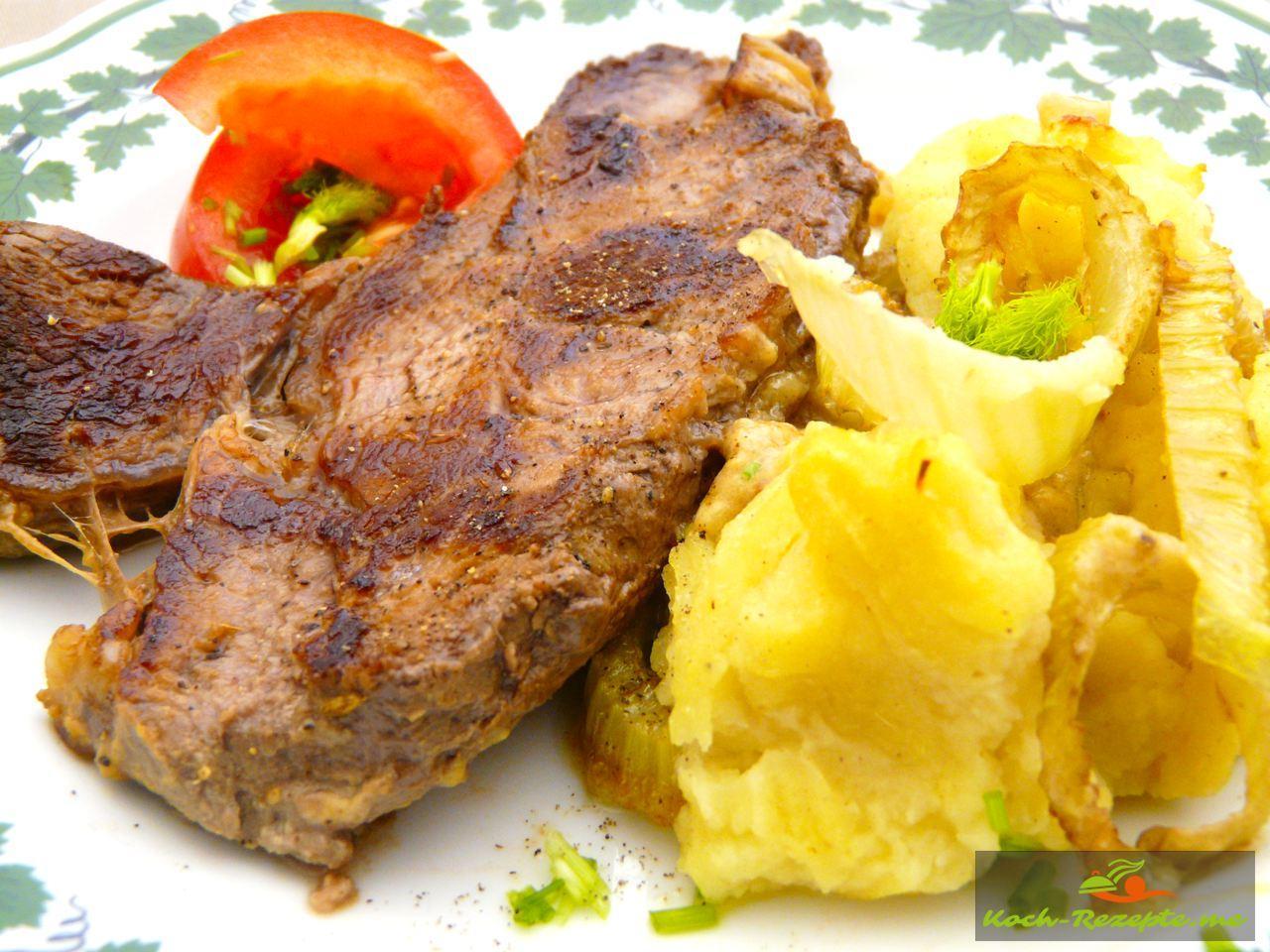 Das Steak wurde in der Pfanne durchgebraten,  Angus Roastbeef well done