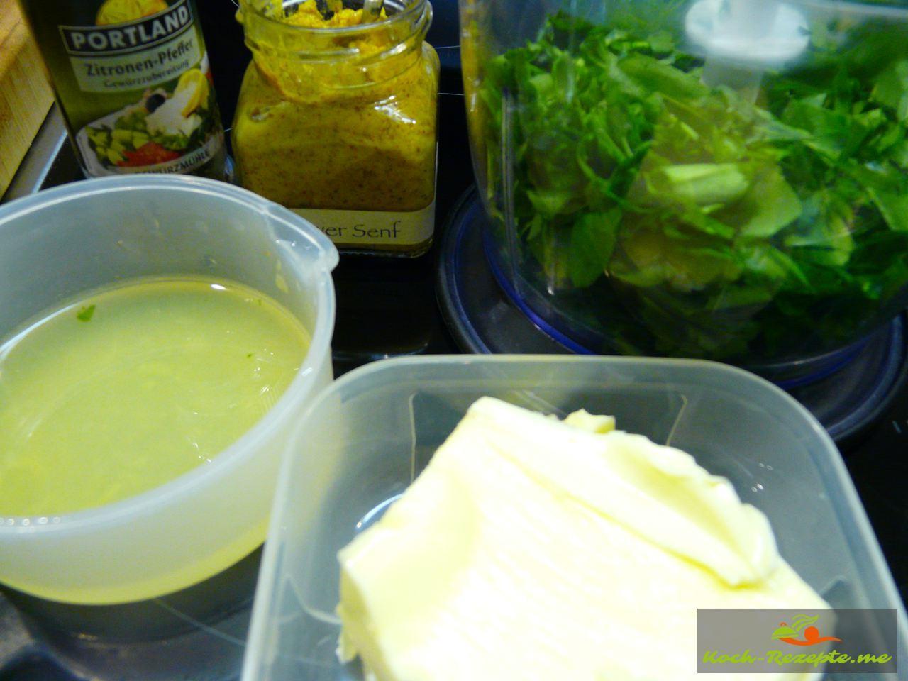 Zutaten für die Waldknoblauch Butter herzustellen, Bärlauchbutter