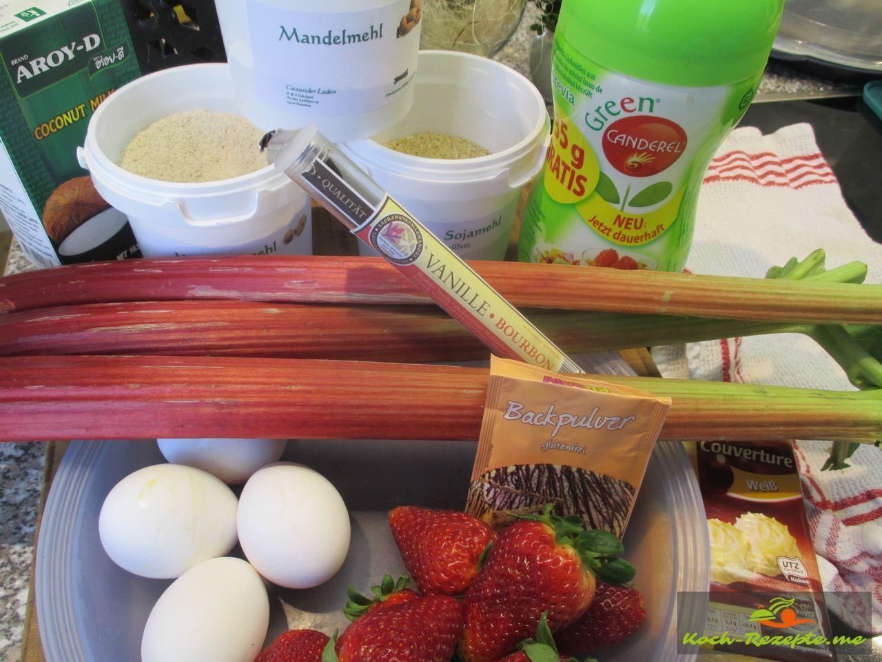 Zutaten für einen Low Carb Blechkuchen