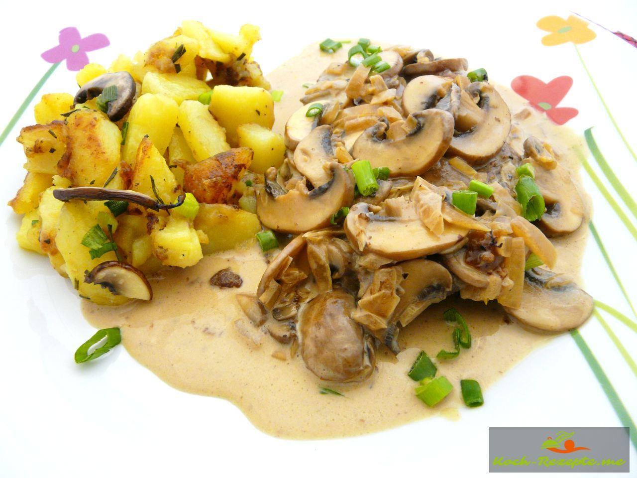 leckere champignon sahne schnitzel backofenkartoffeln. Black Bedroom Furniture Sets. Home Design Ideas