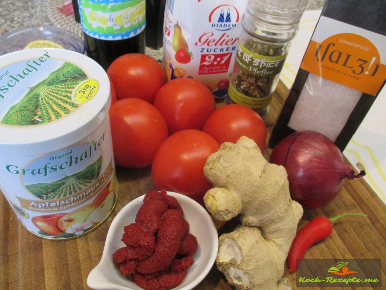 Die Zutaten für die Tomatenmarmelade