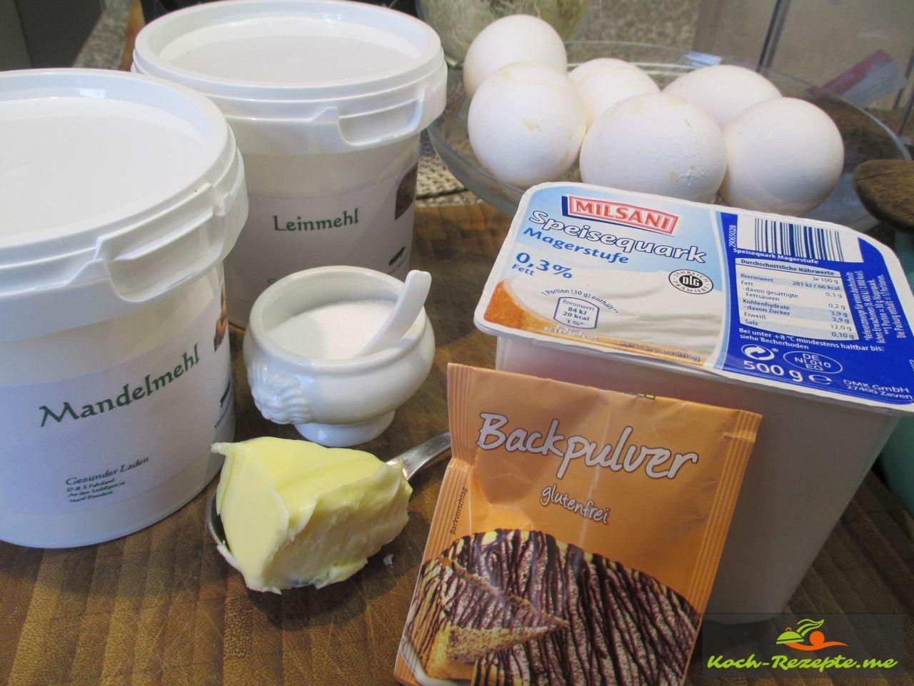Zutaten für Low Carb Quarkbrötchen