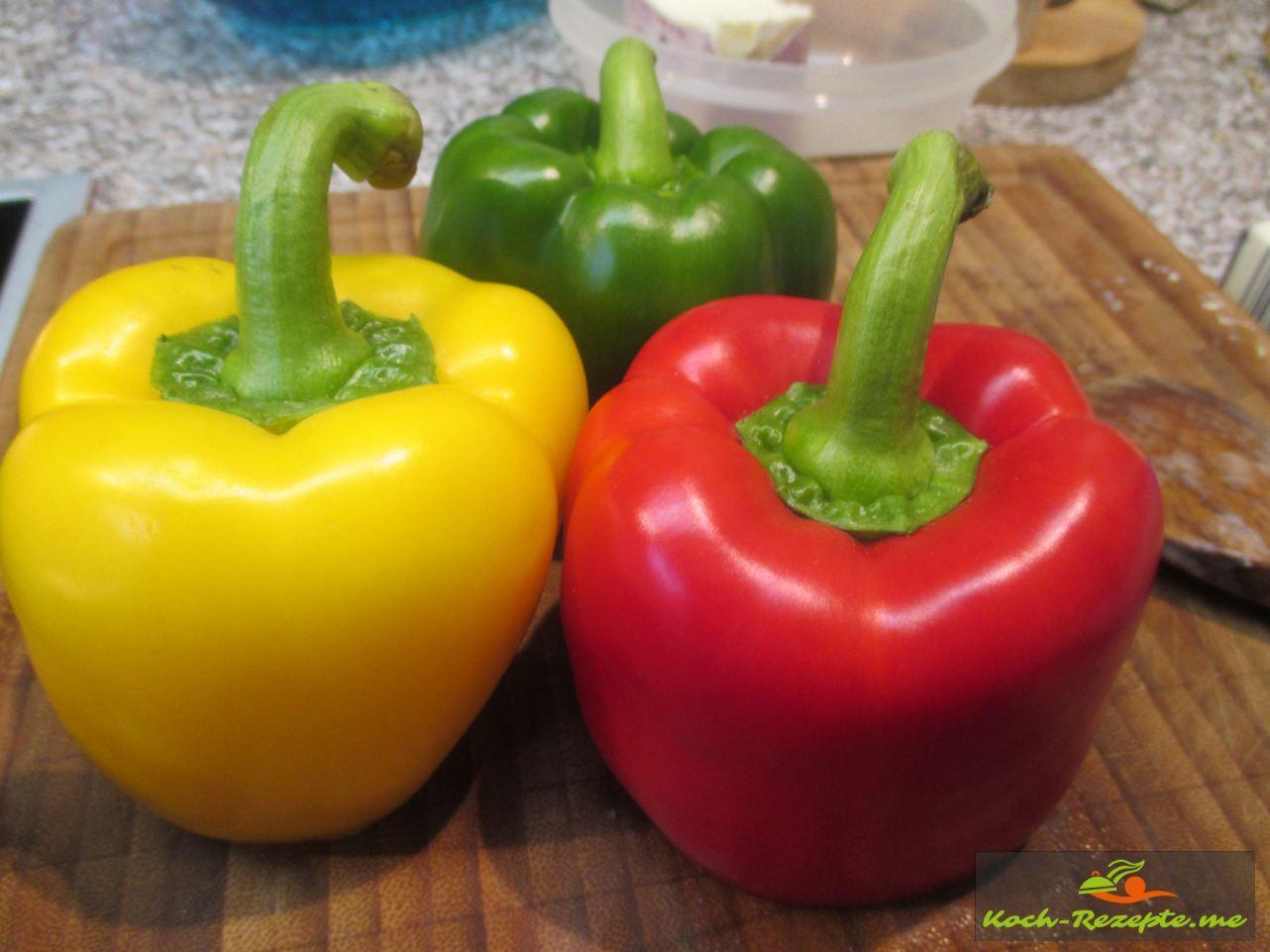 Paprika rot, gelb und grün