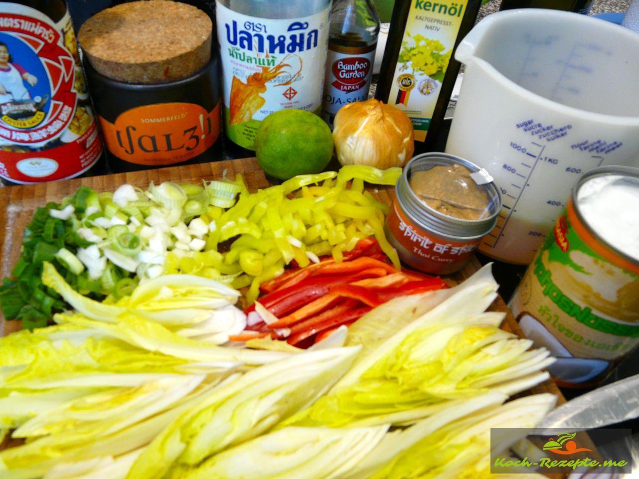 กระทะแกงไก่ซอสมะพร้าวกับผัก Zutaten