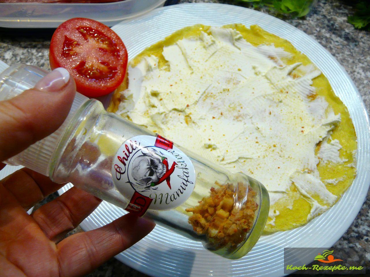 Eine andere Kreation mit Frischkäse Chilisalz und Tomaten