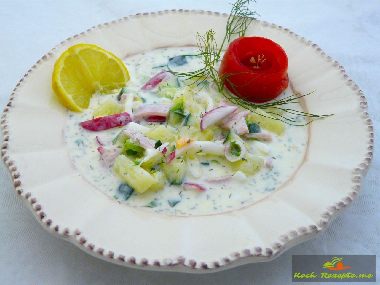 Okroschka kalte Suppe russische Sommersuppe