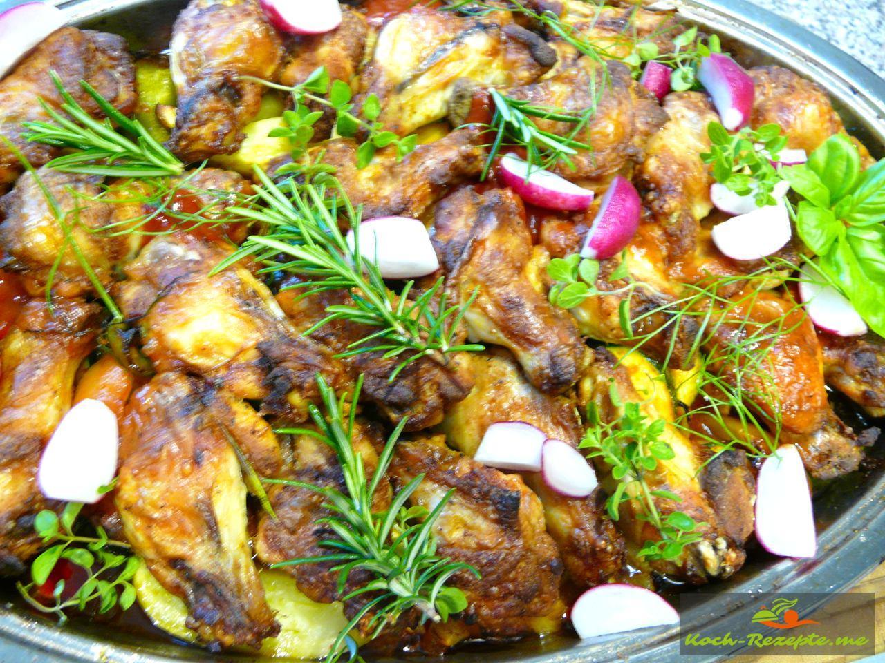 Hähnchentopf mediterran mit Gemüse im Backofen backen