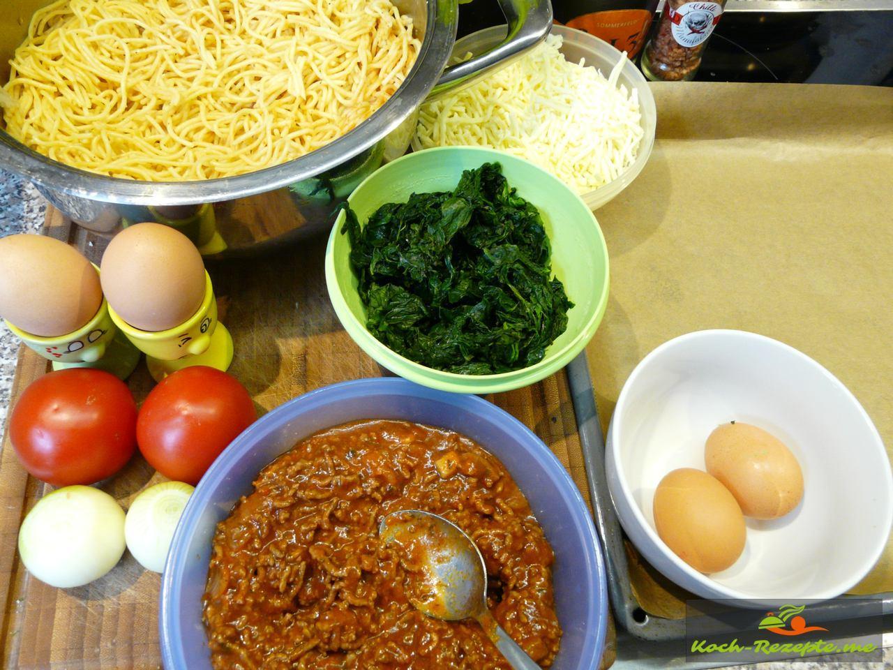 Zutaten für Spaghetti Pizza