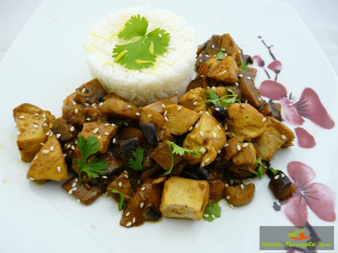 Wakadori-Hähnchen mit Tofu, Teriyaki-Sauce.