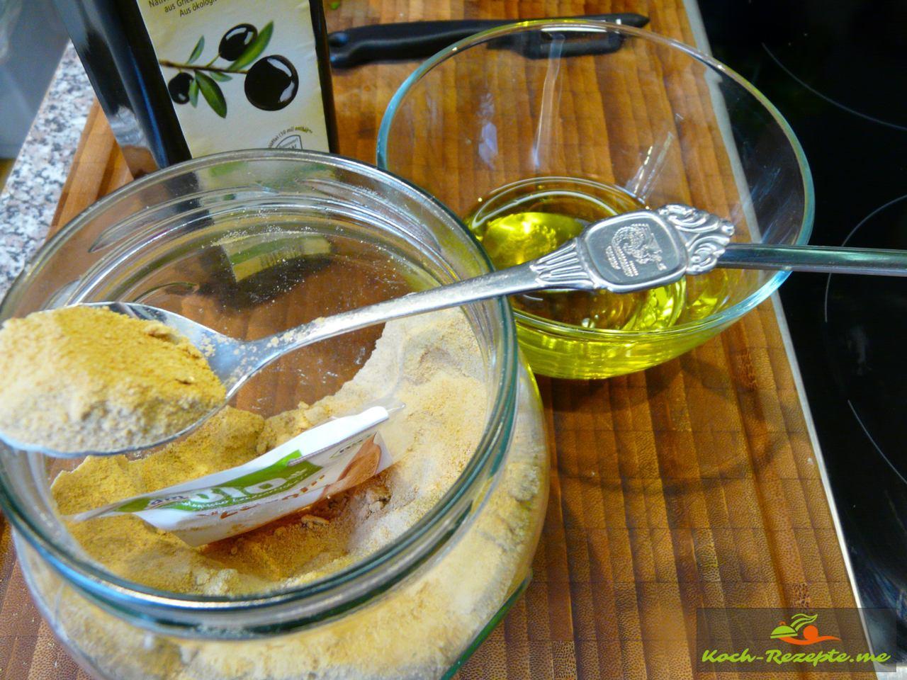 Mit Kräuteressig, Olivenöl, Kräuter Pfeffer und Chilisalz und braunem Zucker, eine Vinaigrette herstellen