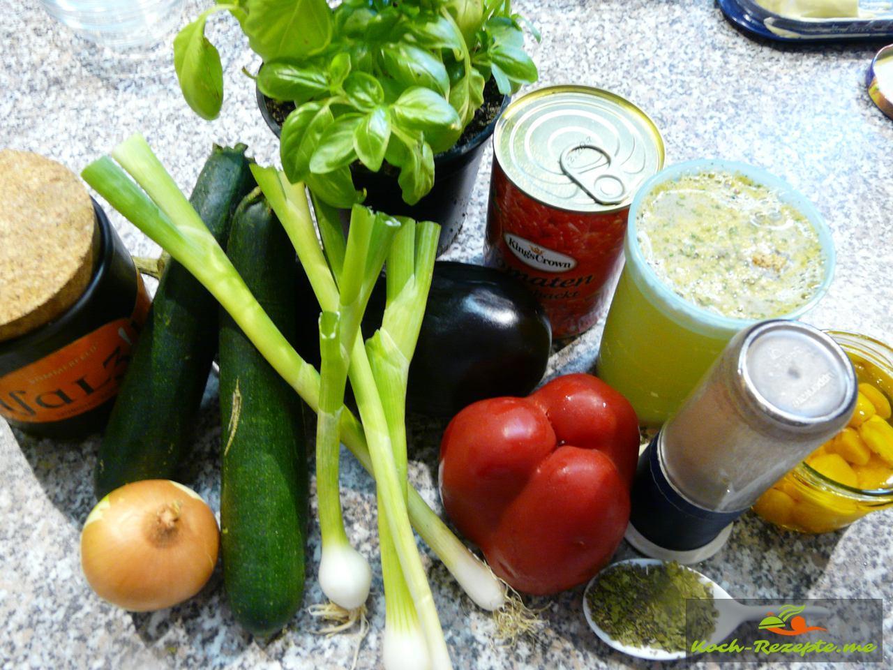 Zutaten für  Ratatouille köstliches mediterranes Rezept