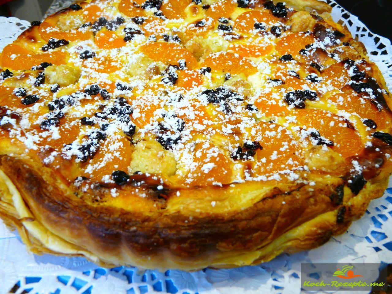 Blatterteig Quark Mandarinen Torte Einfach Schnell Backen