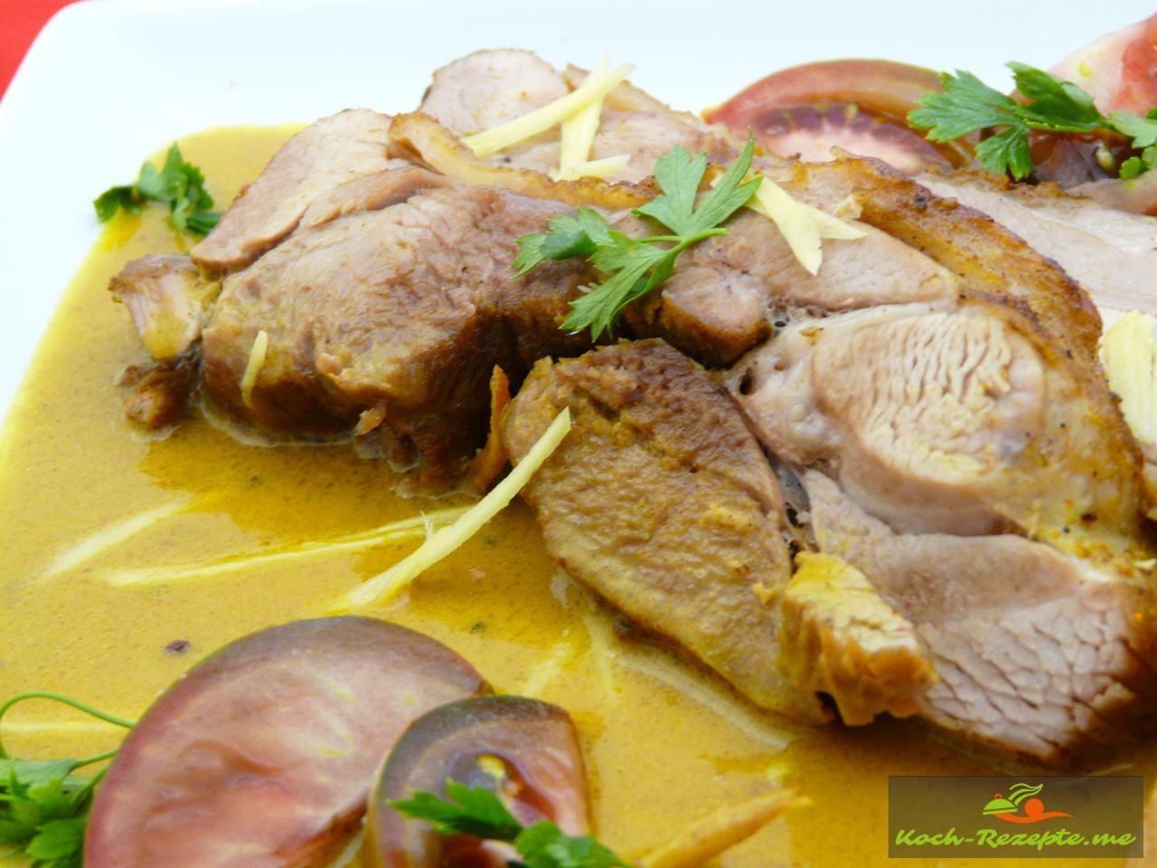 Pute indisch Curry mit Ingwer Sauce sahnig, leicht scharf