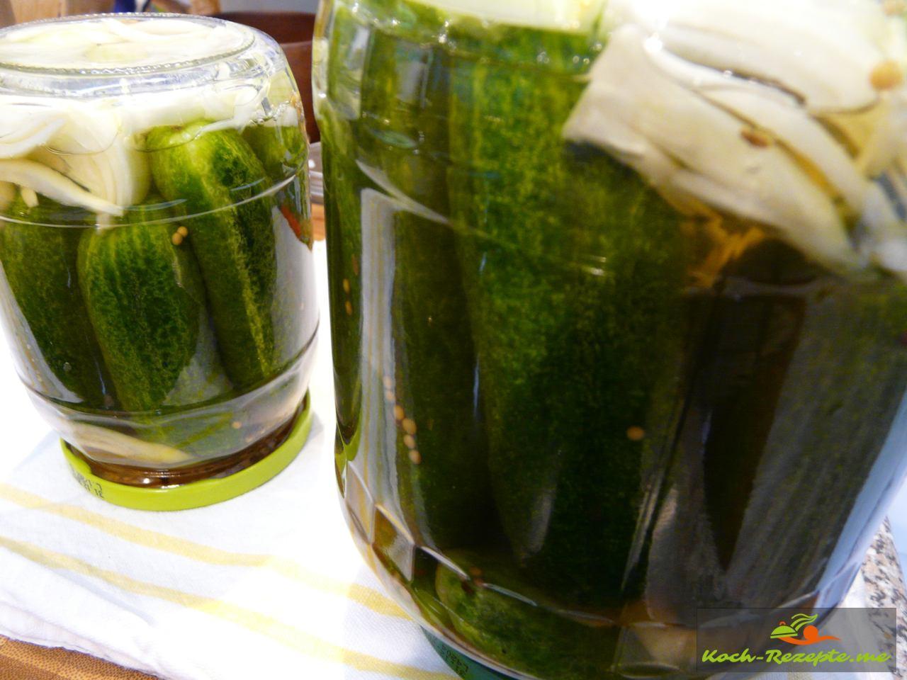 Salzgurken Rezept im Glas 1.Methode