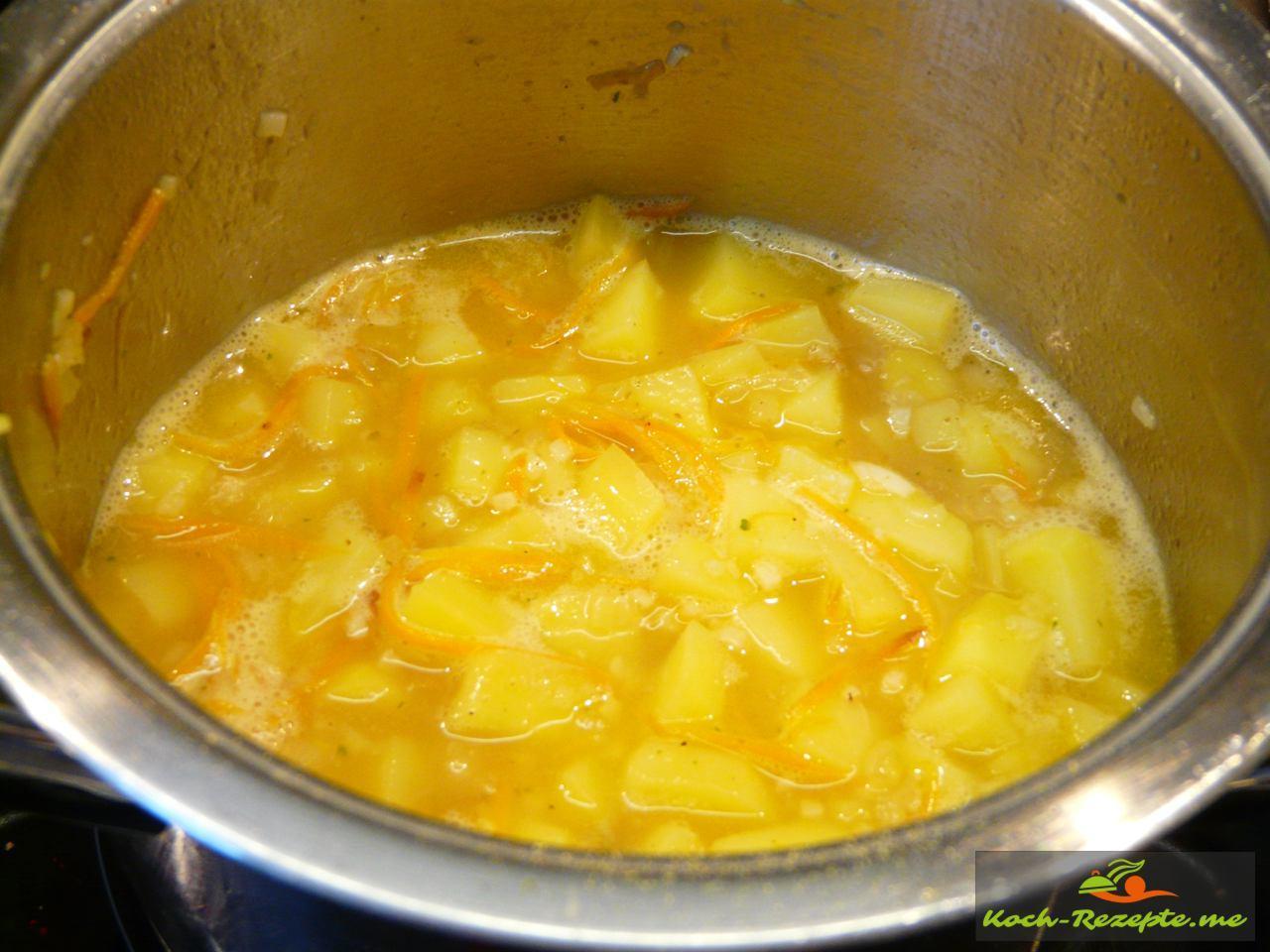Ohne Deckel das Kartoffelrisotto  20 Minuten köcheln lassen