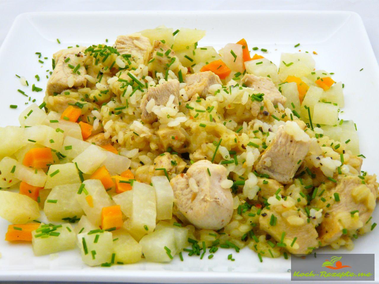 Oriental Hähnchen-Risotto mit Kohlrabi-Möhrengemüse