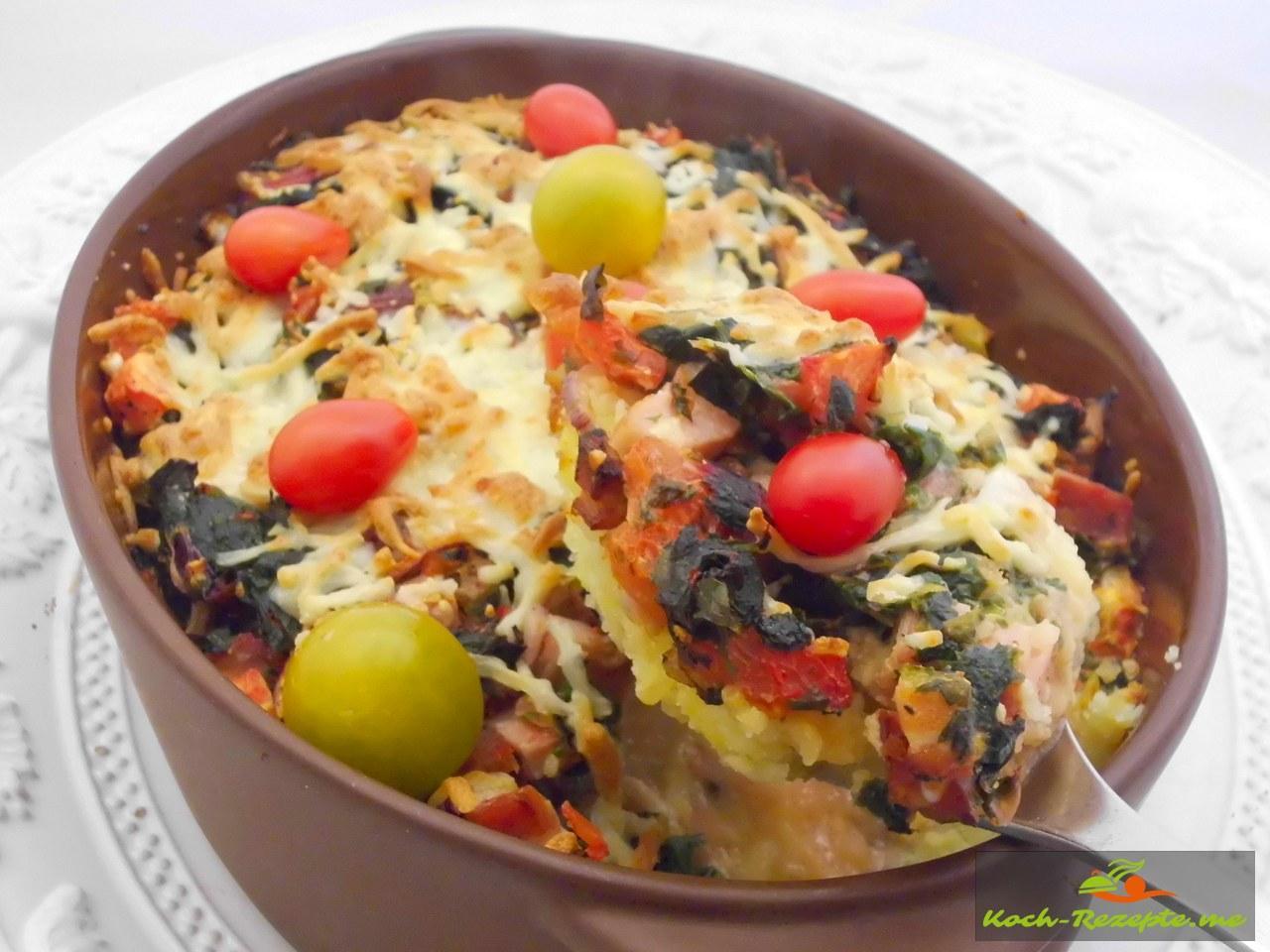 Bunter Mangold Gratin eine Gemüse-Delikatesse