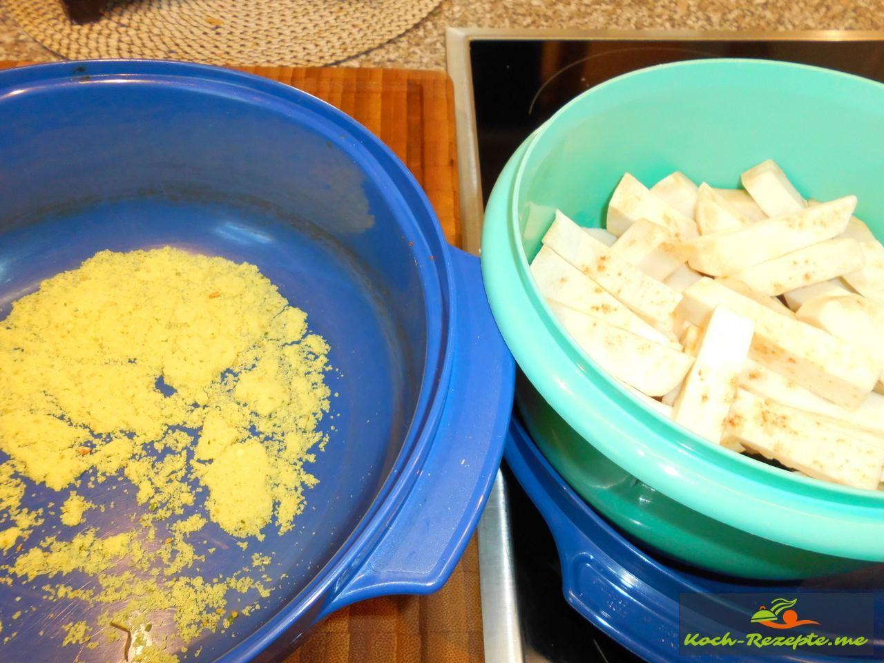 Zutaten Brühe kochen und Sellerie in Stifte geschnitten für Dinkelkorn-Sellerie-Hähnchen Eintopf mit leichter Chilischärfe